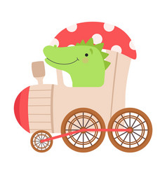Cheerful red cheeked crocodile driving on toy vector