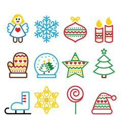 Christmas colored icons with stroke - Xmas tree vector