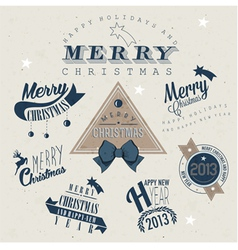 Christmas decoration collection for postcards vector