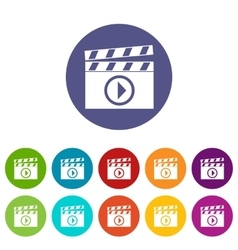 Clapperboard for movie shooting set icons vector image