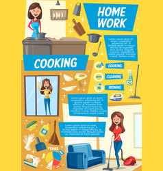 cleaning and dish cooking service cartoon vector image