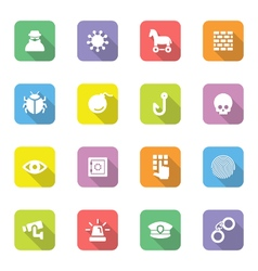 Colorful flat icon set 7 on rounded rectangle with vector