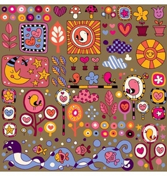 Colorful nature cartoon pattern vector