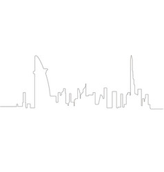 continous line skyline of dubai vector image