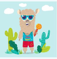 cool llama in sunglasses flat cartoon character vector image