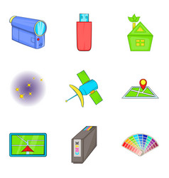 Cordless tech icons set cartoon style vector