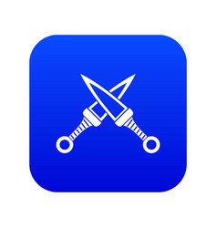 crossed japanese daggers icon digital blue vector image