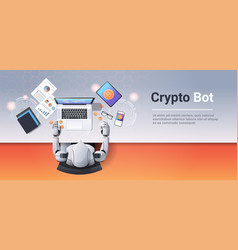crypto currency trading bot block chain concept vector image