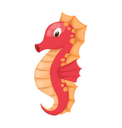 Cute cartoon orange seahorse isolated vector