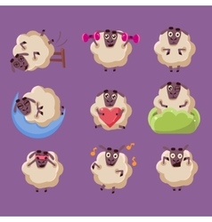 Cute Sheep Chatacter Emotions Collection vector