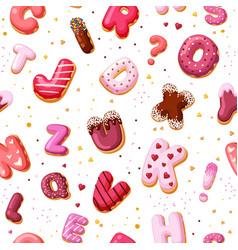 dessert alphabet seamless pattern color font vector image