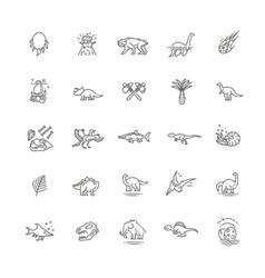 dinosaurs thin line icon set vector image