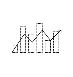 Dotted shape statistics bar diagram with arrow vector