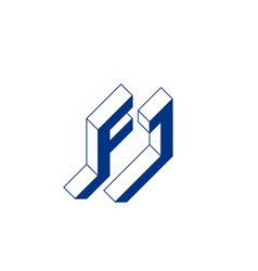 f and j - monogram or logotype isometric 3d font vector image