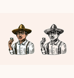 farmer holding a shot tequila mexican man with vector image