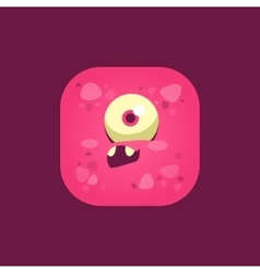 Feeling stupid pink monster emoji icon vector