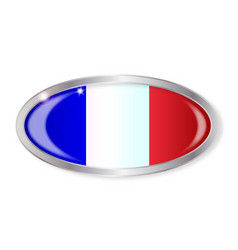 French flag oval button vector