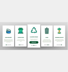 Garbage recycling linear onboarding vector