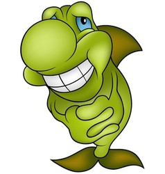Green Smiling Fish vector image