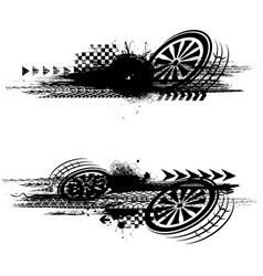 Grunge black tire track banners vector