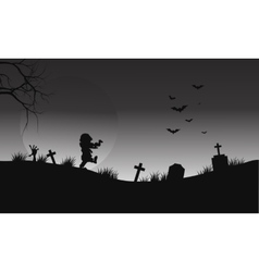 Halloween zombie and bat on gray backgrounds vector image