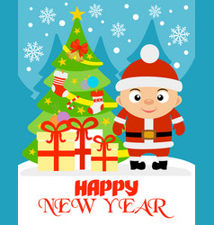 Happy new year with boy vector