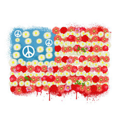 Happy Peace flag USA vector