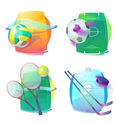Hockey and tennis volleyball soccer gear icons vector