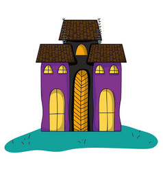 Horror castle building architecture style vector