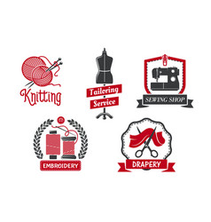 Icons for dressmaker knitting atelier salon vector