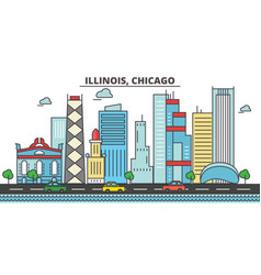 Illinois chicagocity skyline architecture vector