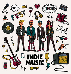 Indie rock music set musicians vector