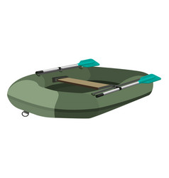Inflatable dark green boat with two paddles vector