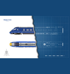 Isolated blueprint blue modern train vector