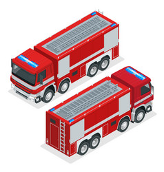 Isometric red fire truck vehicle of emergency vector