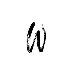 Letter w handwritten by dry brush rough strokes vector