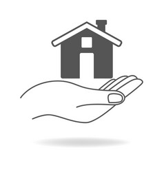Line art icon of a hand holding a house vector