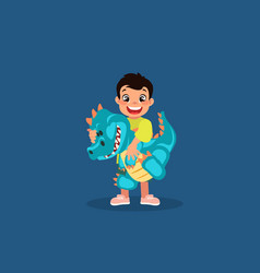 little boy with a blue baby dinosaur toy cartoon vector image