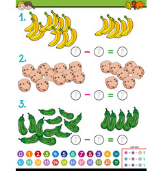 maths subtraction calculation educational game vector image