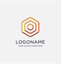 modern abstract hexagon signal wave logo icon vector image