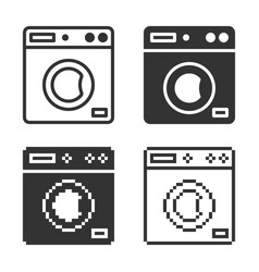 Monochromatic clothes washer icon in different vector