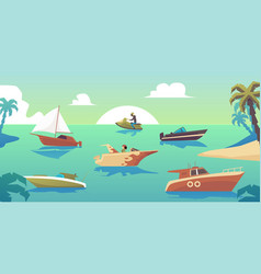 motorboats and ships in tropical sea landscape vector image