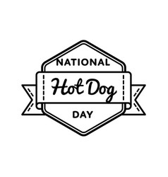 national hot dog day greeting emblem vector image
