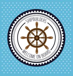 Nautical frame with ship timon vector