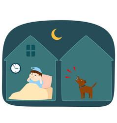 Neighbor dog barking loudly at night cartoon vector
