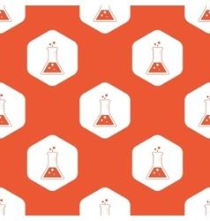 Orange hexagon conical flask pattern vector