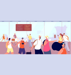 people in airport terminal man woman and suitcase vector image