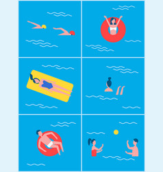 People in swimming pool set vector