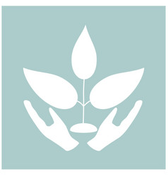 Plant and hand the white color icon vector