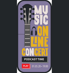 Poster for online music concert with a guitar neck vector